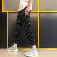 Korean Streetwear Fashion Plaid Block Slim Ankle Pant Summer Thin Sweatpant College Student Trouser Elegant Hiphop Japanese Kpop