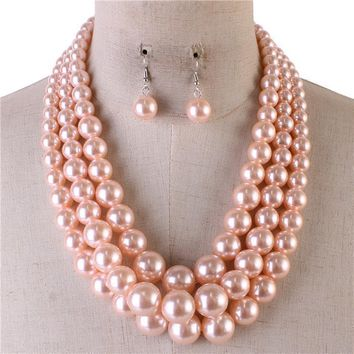 "18"" pink faux pearl multi layered 3 strand necklace 1.40"" earrings"
