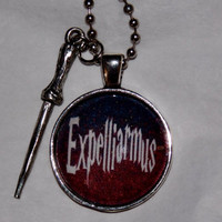 Expelliarmus Harry Potter Necklace. Harry Potter Inspired Necklace With Charm Accent. 18 Inch Ball Chain.
