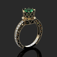 Classic Armenian 14K Yellow Black Gold 1.0 Ct Emerald Diamond Engagement Ring R782-14KYBGDEM