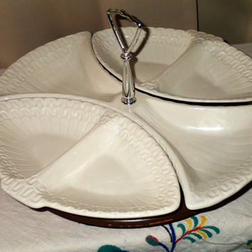 Lazy Susan serving set Maddux of California 4 piece  Mid Century Appetizer serving set White pottery