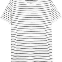 Rag & bone - Distressed striped cotton-blend T-shirt