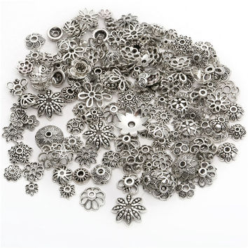 40g About 150pcs Silver Mixed Different Patterned  Bead Caps End Beads For DIY Jewelry Making Bracelets