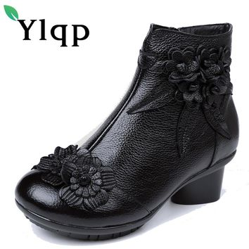 Ylqp Original Folk Style Women's Boots Female Big Plus Size Genuine Leather Ankle Boots Warm Winter Shoes Soft Bottom Chaussures