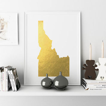 Idaho Gold Foil Map Print GOLD FOIL Map Personalized Home Town Art State Wall Decor Typography Art Nursery Art Print USA Decor Poster Print