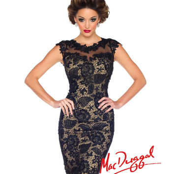 Mac Duggal - Black & Nude Floral Lace Cocktail Dress