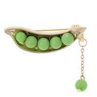 Japanese style Gold Plated Cute Green pea sweater collar brooch pin jewelry