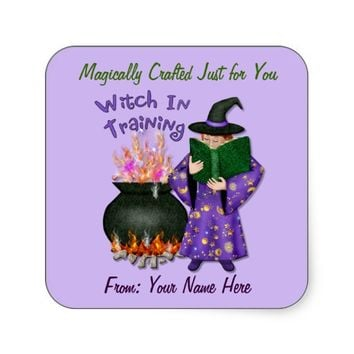 Witch in Training With Magic Spell Book Sticker