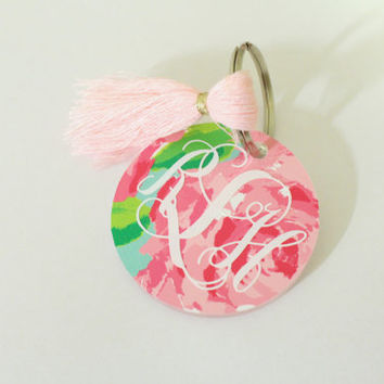 Lilly Pulitzer Inspired 'First Impression' Monogrammed Keychain