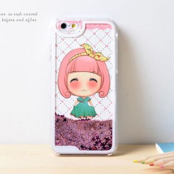 CREYEJ6 Girl Dynamic Green Liquid Pink Glitter Sand Quicksand Star Bling Clear iPhone 6 Plus case Phone Case