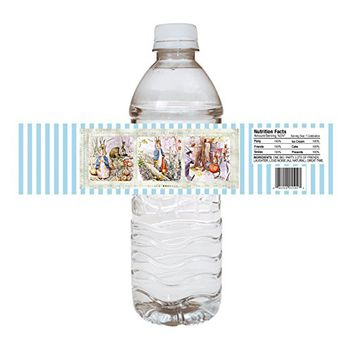 Peter Rabbit Water Bottle Labels - Boy Girl Birthday Baby Shower Party Supplies - Set of 12
