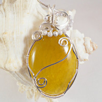 Wire Wrapped Stone Pendant, Yellow Dragon Vein Agate, Handmade Jewelry
