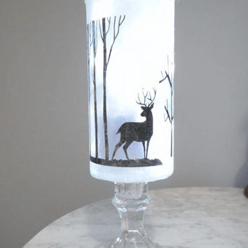 Deer Decor, Deer Lighted Vase, Deer Lamp, Centerpiece Vase, Tall Glass Vase, Rustic Decor, Antler Decor, Deer Nightlight, Deer Centerpiece