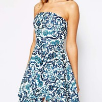 Stylestalker Secrets Bandeau Dress In Ming Print at asos.com
