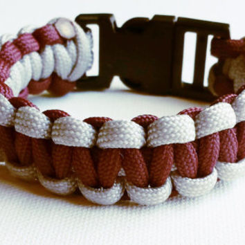 Paracord Bracelet- Para-Band- Paracord Survival Bracelet- Camping Gear- 550 paracord- Military Bracelet- Maroon and Gray- Gifts for Him/Her