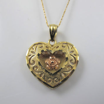 10K Krementz Heart Pendant Necklace, Vintage Mid Century Rose Yellow Gold Heart Jewelry, 10K Van Dell Chain, Layered Etched Pierced Heart