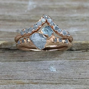 Engagement ring set raw diamonds / Wedding band set diamonds / Aquamarine and diamond ring / Gift for her / Anniversary gift / Rose gold
