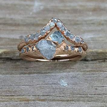 Engagement ring set raw diamonds   Wedding band set diamonds   Aquamarine  and diamond ring   14383c3c0