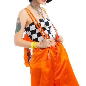 30083f8501e Vintage 90 s Orange Rave or Die PLUR Backpack Overalls - One Siz