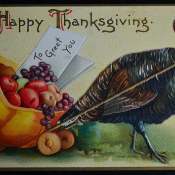 Thanksgiving Postcard, Thanksgiving Clapsaddle, Ellen Clapsaddle Postcard, Antique Postcard, Vintage Postcard