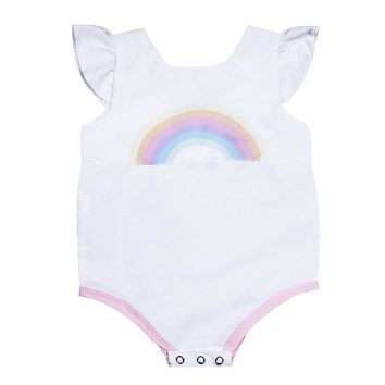 Summer Baby Girls Sleeveless Round Collar Cute Cartoon Rainbow Printing Triangle Romper Fashion Babysuits Outfits
