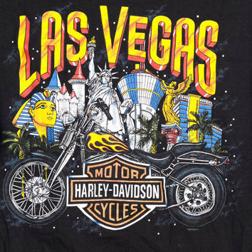 90s HARLEY LAS VEGAS shirt / vintage 1990s / palm tree / egypt / black tee / motorcycle / biker / punk / luxor / unisex / small medium