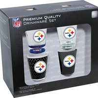 NFL Pittsburgh Steelers Shot Glass Collector Set (4-Piece), 2-Ounce, Clear