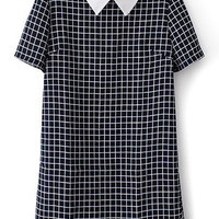 Contrast Pointed Flat Collar Plaid Short Sleeve Mini Shift Dress with Back Zipper