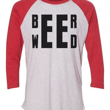 """Unisex Christmas Soft Tri-Blend Baseball T-Shirt """"Beer Weed"""" Rb Clothing Co"""