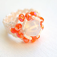 Moonstone ring beaded stretch ring tangerine ring intricate band