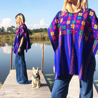 Vintage 1970s Mexican Rainbow HUIPIL Blue Floral Embroidered Boho Hippie Festival Blouse Top Poncho  || Free Size