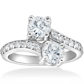 2 Carat Forever Us Two Stone Round Diamond Engagement Ring