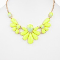 Neon Yellow Faded Floral Jewel Statement Necklace/Earring Set