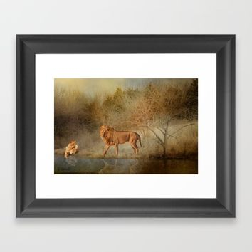 Lions At The River Framed Art Print by Theresa Campbell D'August Art