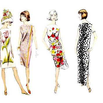 60s Pull Over Shift Dress Vogue Pattern 6157 Bateau Neckline Sleeveless Three Lengths Vintage Sewing Patterns Size 16 Bust 36