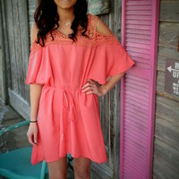 Coral Lace Shoulder Dress - Cowgirl Clad Company