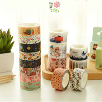 1.5cm*10m Cute Animal/Flower/ Cake Washi Tape Adhesive Masking Tape Decorative Scrapbooking DIY Label Escolar Papelaria WJ0165