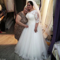 Plus Size Bridal Wedding Dress Bridal Gown with Half Sleeves