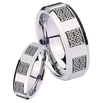 His Her Mirror Beveled Multipe Square Celtic Silver Tungsten Wedding Rings Set