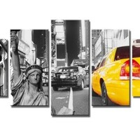 "SZ HD Painting C748 Canvas Prints for Home Decoration, Framed, Stretched- 5 Panels New York City Yellow Taxi Picture Print on Canvas- Modern Home Decor Wall Art- 40""W x 20""H overall (SMALL size)"