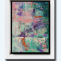 """Abstract Oil Painting, Possibilities, palette knife oil painting, Turquoise and blue abstract, wall art, intuitive painting, 5x7"""""""