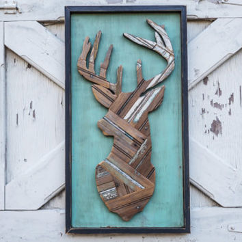 Deer head made from reclaimed wooden pallets deer hunting wall decor man cave gift deer silhouette deer profile deer puzzle framed deer