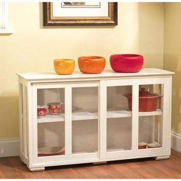 Sliding Tempered Glass Doors Stackable Storage Cabinet, Antique White - Walmart.com