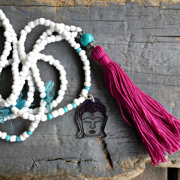 Yoga, Buddha, Tassel necklace, Mala, Gypsy, hippie, Boho necklace, Bohemian, long, beaded necklace, Trade bead necklace.