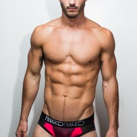 NY Brief (Neon Red w/Black Basketball Mesh)