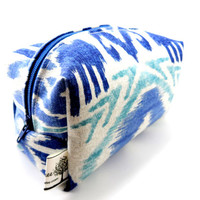 Blue and Grey Ikat Makeup Bag, Zipper, washable, travel, zigzag southwestern, small, pencil case, on the go, gifts under 15