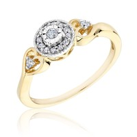 Diamond and Heart Fashion Ring 1/8ctw