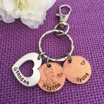 Penny Keychain - Year Penny Keychain - Gift for Mom - Grandma Keychain - Lucky Penny Keychain - Bag Clip - My Blessings - Penny jewelry