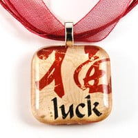 Luck Necklace  Glass Tile Pendant on a Maroon by whitneysdesigns