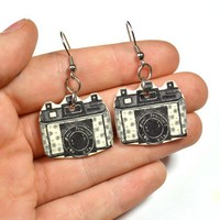 Illustrated Camera earrings - Bows Jewellery